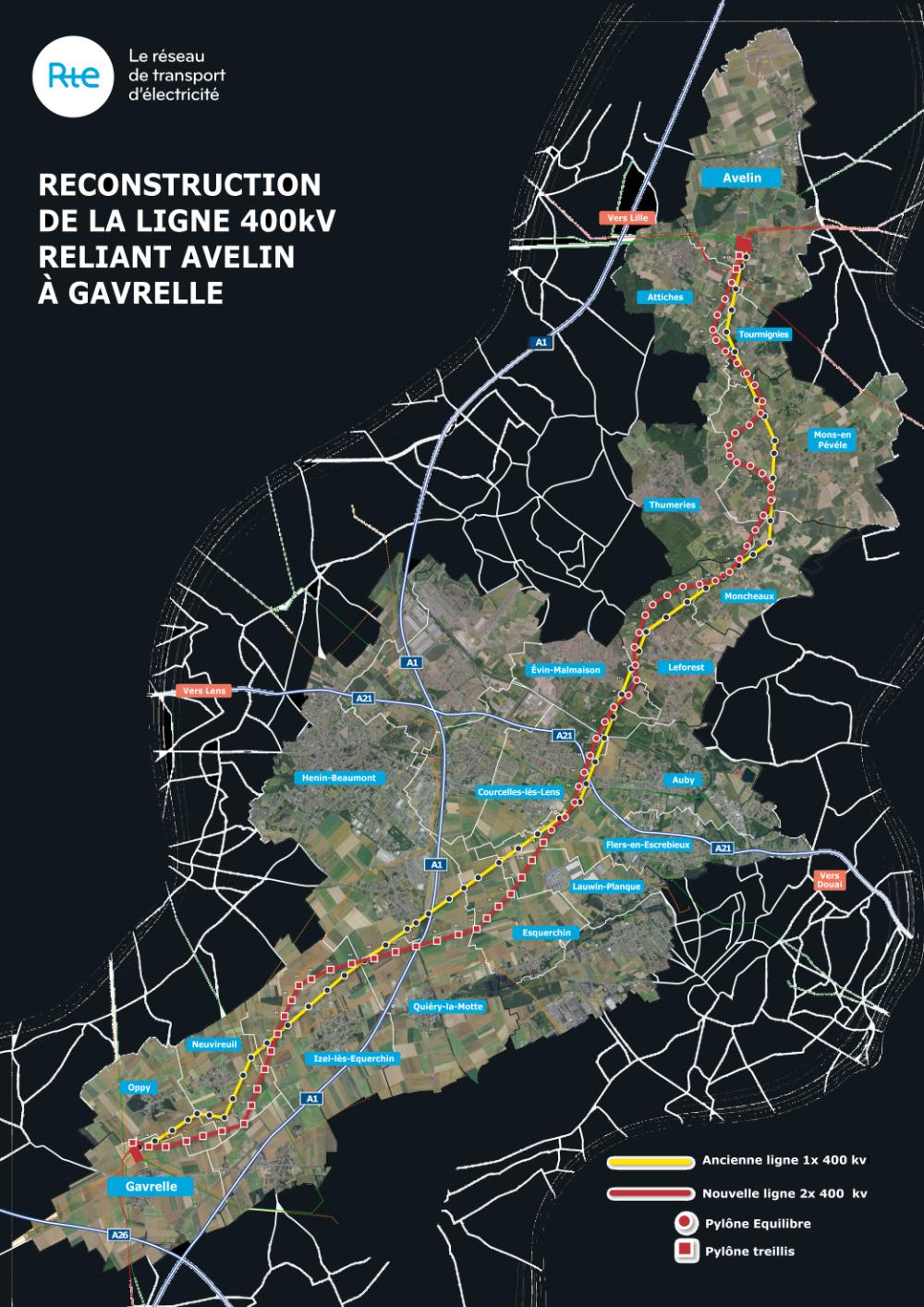 Carte tracé Avelin Gavrelle