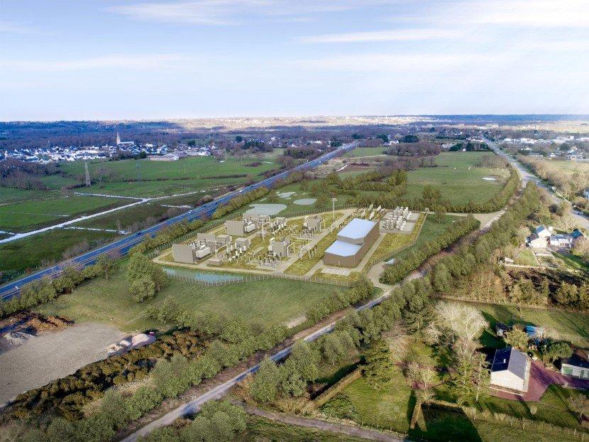 Image aérienne du poste électrique de Prinquiau