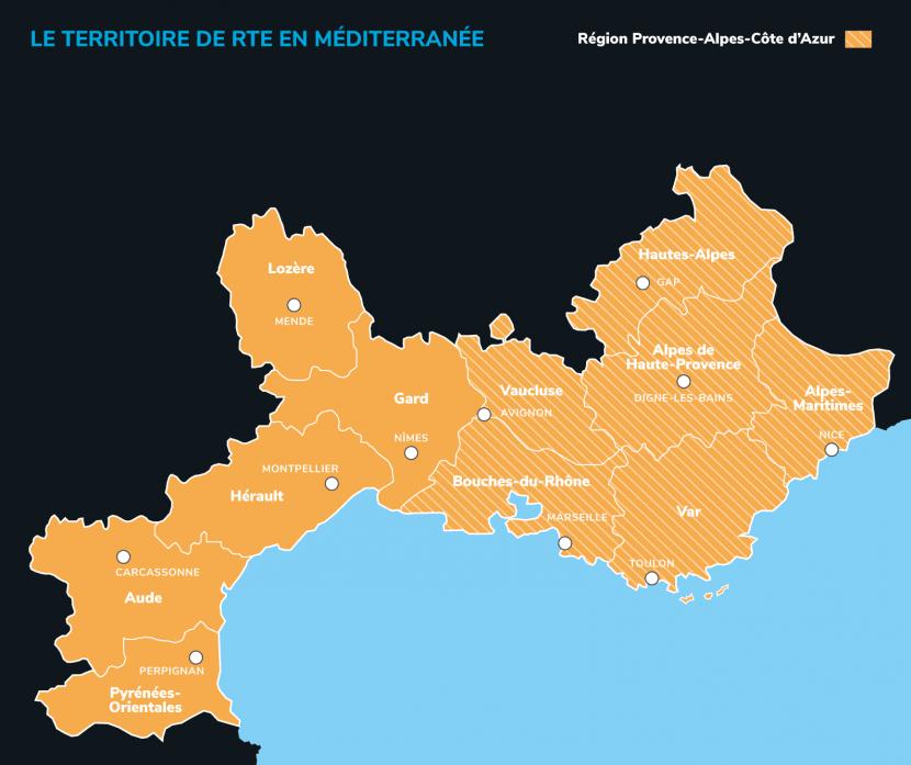 Carte RTE en Méditerranée départements dark mode