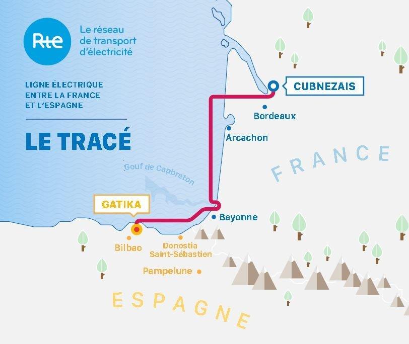 Infographie - Carte du tracé du projet d'interconnexion Golfe de Gascogne